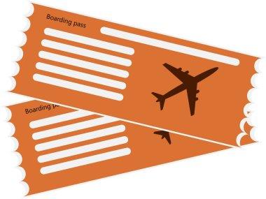 Vector orange pattern airline boarding pass