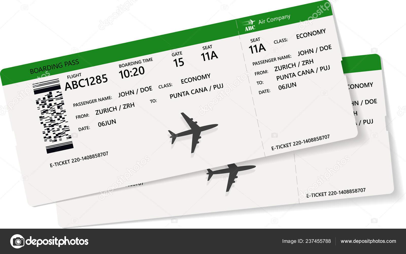 Realistic Airline Ticket Boarding Pass Design Unreal Flight Time Passenger  — Stock Vector © orelphoto2 #237455788