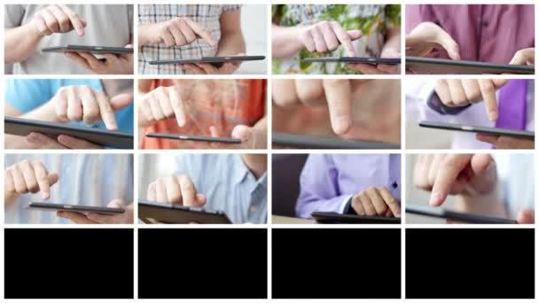 Férfi kéz megható képernyő a modern digitális tabletta pc.