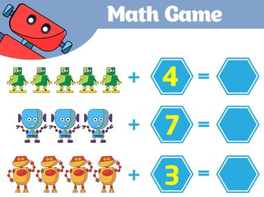 Mathematics educational game for children. Learning subtraction worksheet for kids, counting activity. Vector illustration Robot.