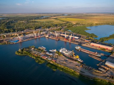 Rostov-on-Don, Russia - July 2018: Priboy shipyard - view from above
