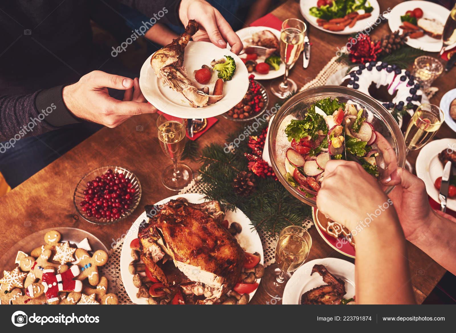High Angle View Table Served Christmas Family Dinner Stock