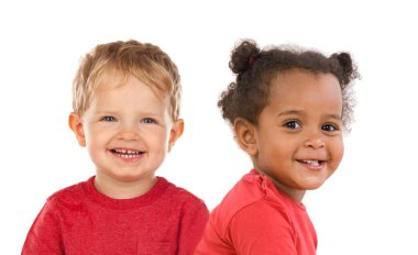 cute happy little boy and girl isolated on white background