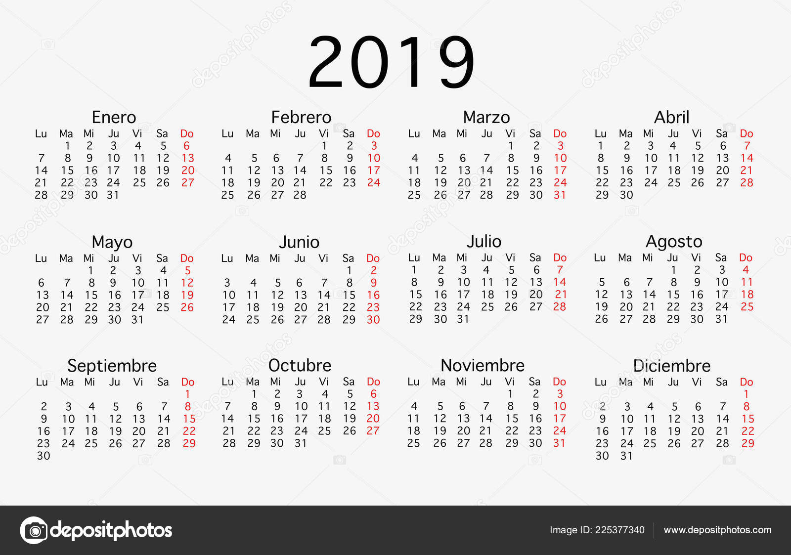 English Calendar Template Year 2019 Set Months Stock Photo Image By Gelpi 225377340