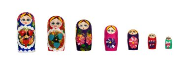 Russian Dolls Babushkas Matryoshkas isolated on a white background