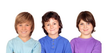 Thre kids looking at camera isolated on a white background