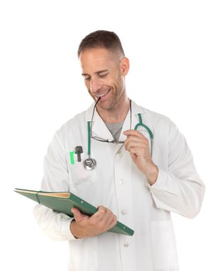 Handsome doctor with glasses holding documents