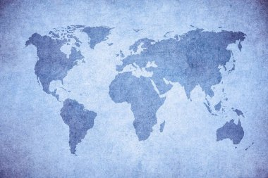 Blue wall with grunge map of world