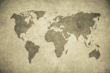 grunge map of world with copy space