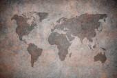 Grunge mapa světa, closeup