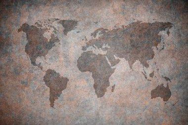 Grunge map of the world, closeup