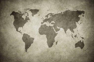 grunge map of the world, vintage style background