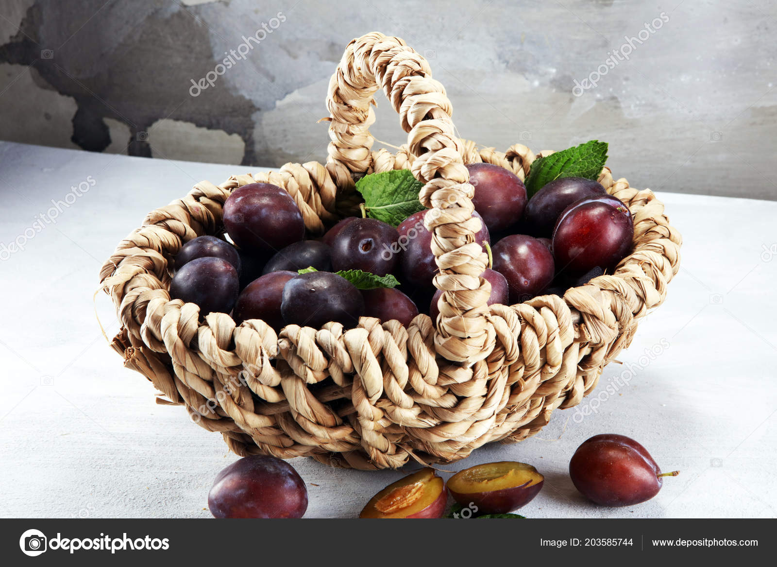 Plums Rustic Stone Background Half Blue Plum Fruit Many Beautiful Stock Photo
