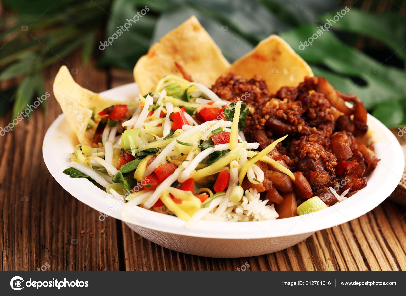 Nasi Campur Bali Popular Balinese Meal Rice Meat Typical