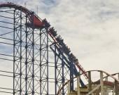BLACKPOOL, UNITED KINGDOM - JUNE 24: Big One rollercoaster at Blackpool Pleasure Beach on June 24, 2014