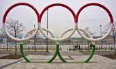 Budapest, Magyarország - március 24: Olimpiai gyűrű rakpart közelében