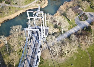 aerial view of bungee jumping platform over natural landscape