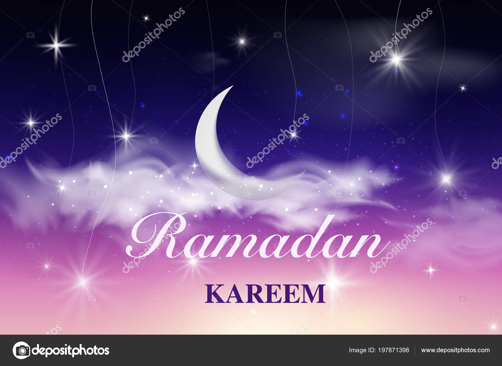 Ramadan greeting card with crescent ramadan kareem islamic design ramadan greeting card with crescent ramadan kareem islamic design crescent moon on starry background with m4hsunfo
