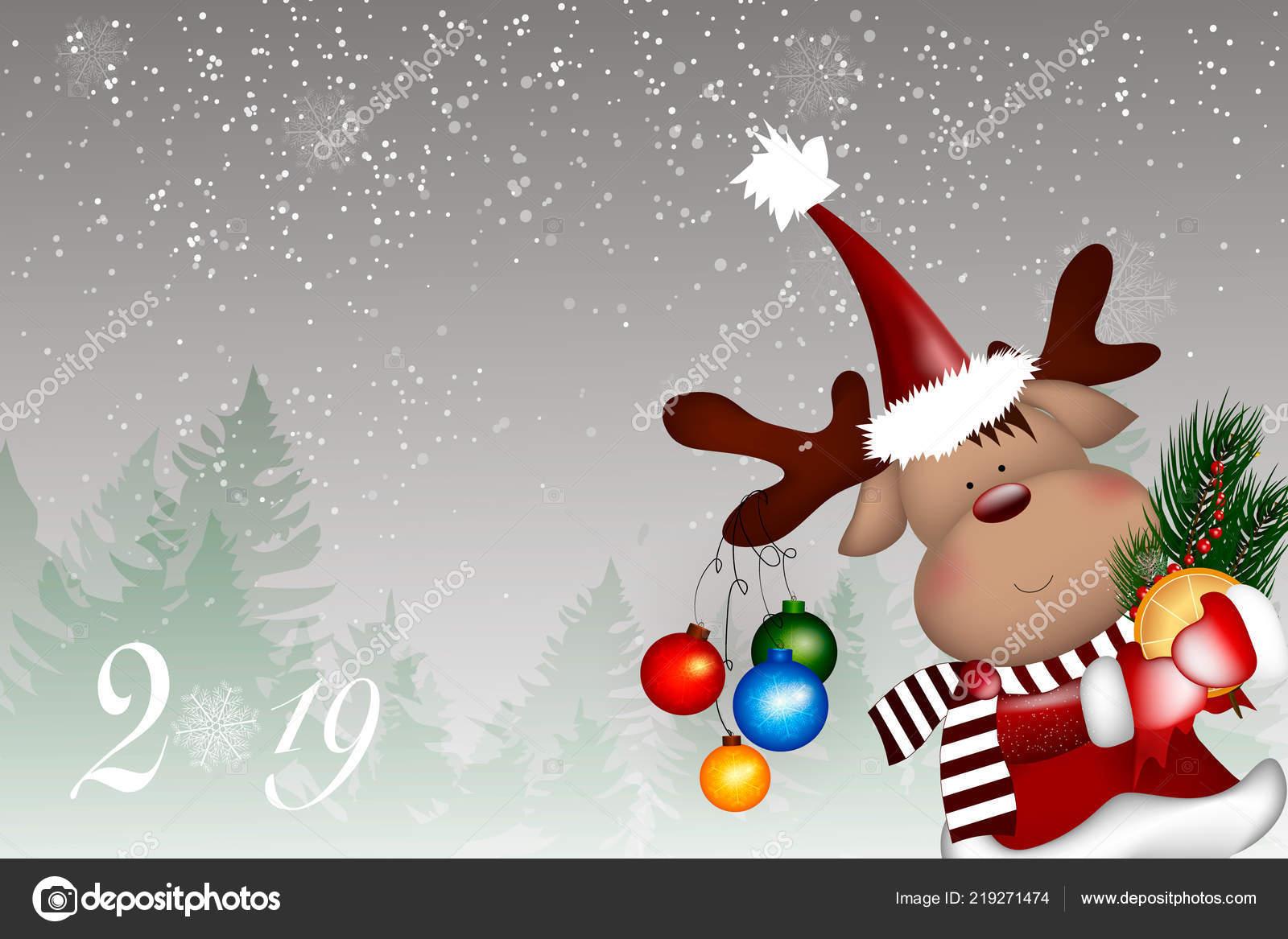 Christmas Reindeer. Cute and funny character Deer. — Stock Vector ...