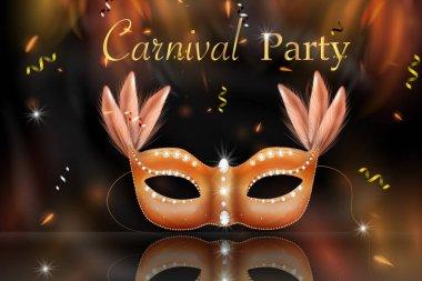 Golden Carnival Mask, Masquerade, Mardi Gras