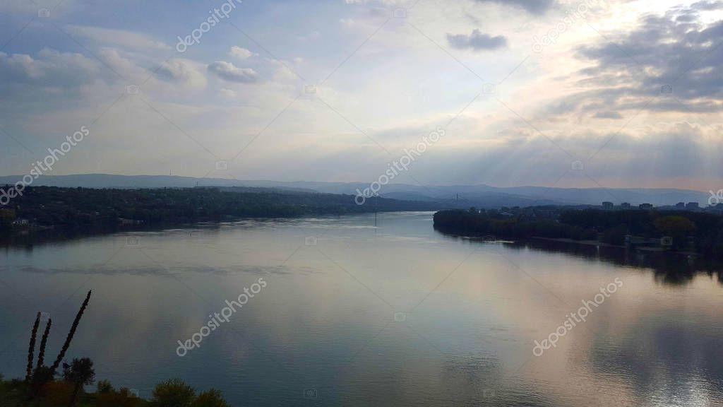 Panoramic view of the river Danube from the Petrovaradin fortress near Novi Sad in Serbia