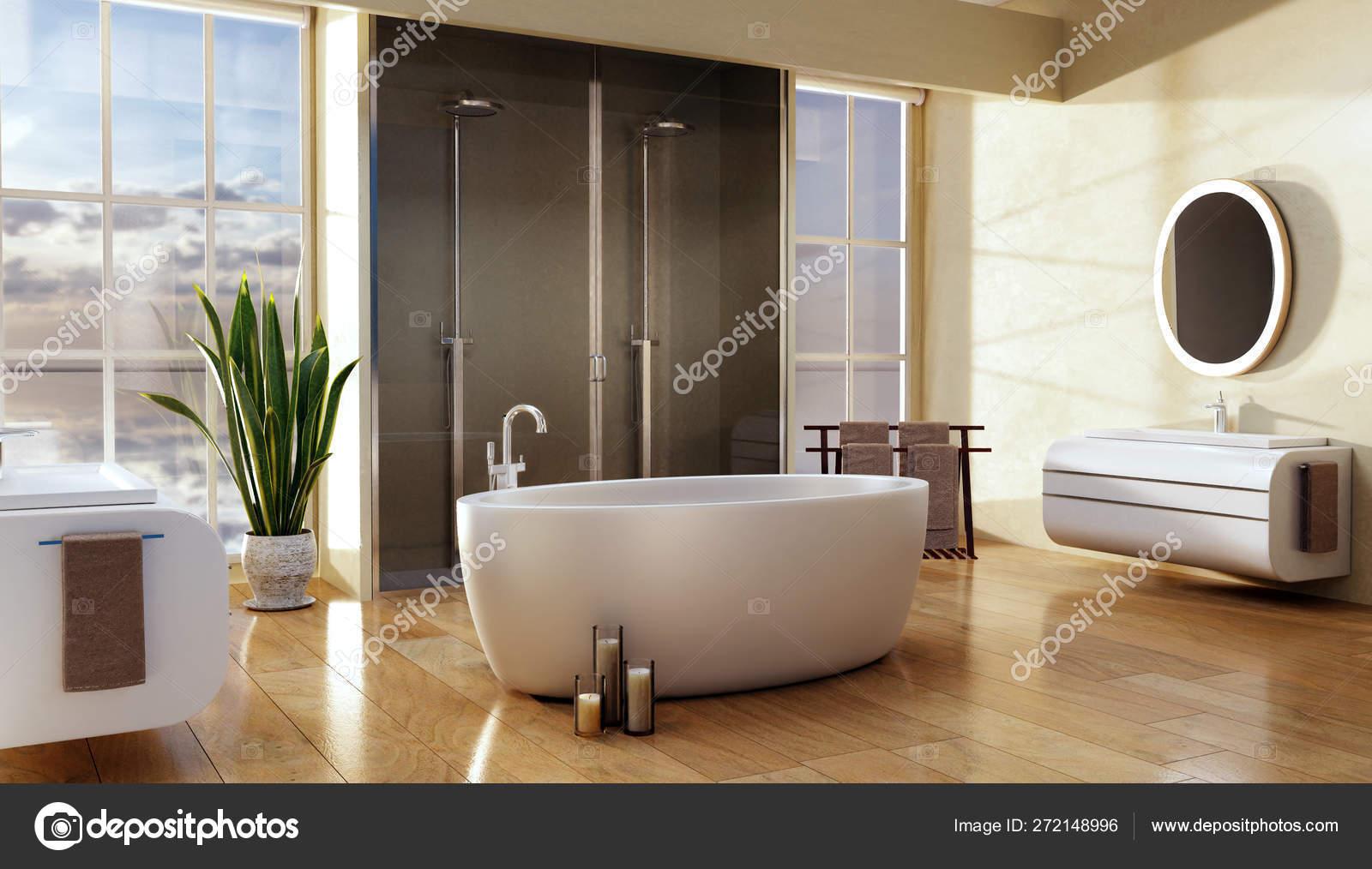Illustration Modern Bathroom Big Oval Bath Double Shower Natural Light Stock Photo C Karelnoppe 272148996