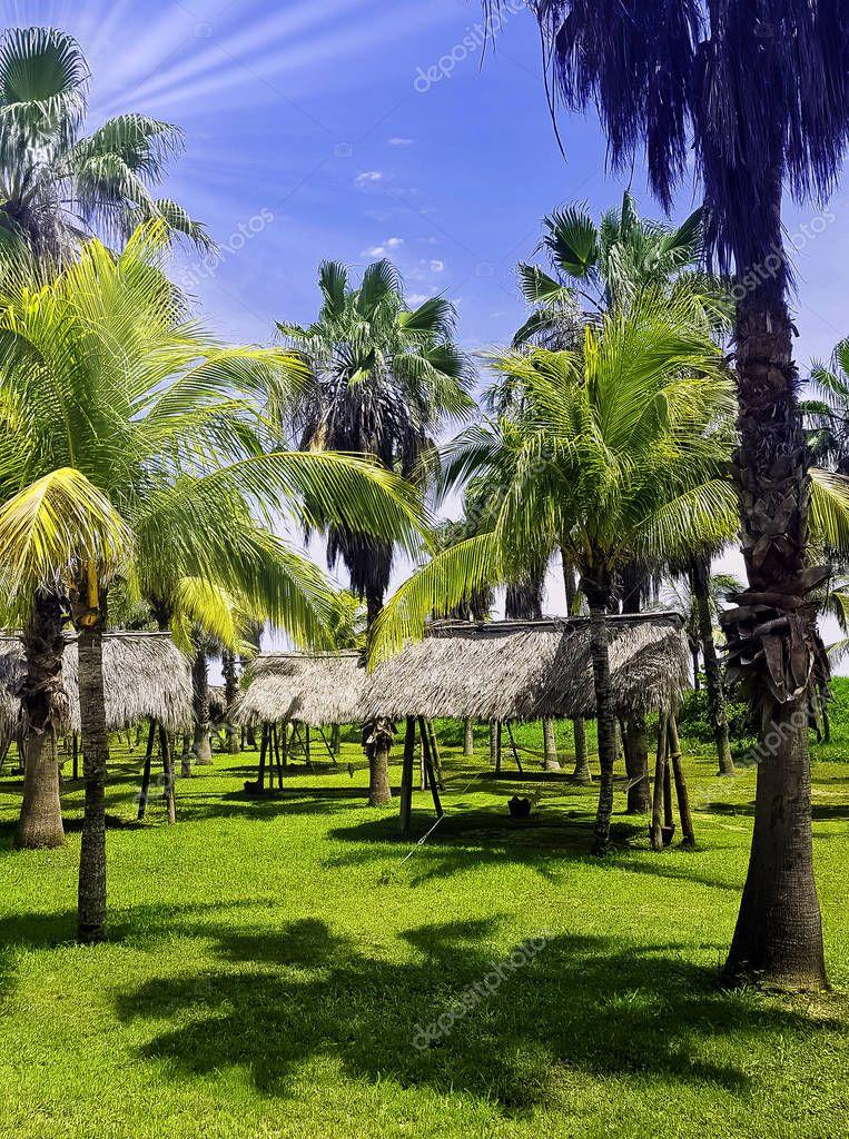 Park with old shaded hammocks in Varadero, Cuba