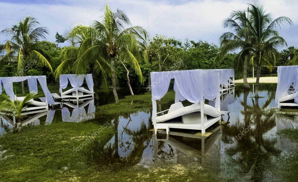 Flooded park with sunbeds in Varadero, Cuba on 29 September 2018