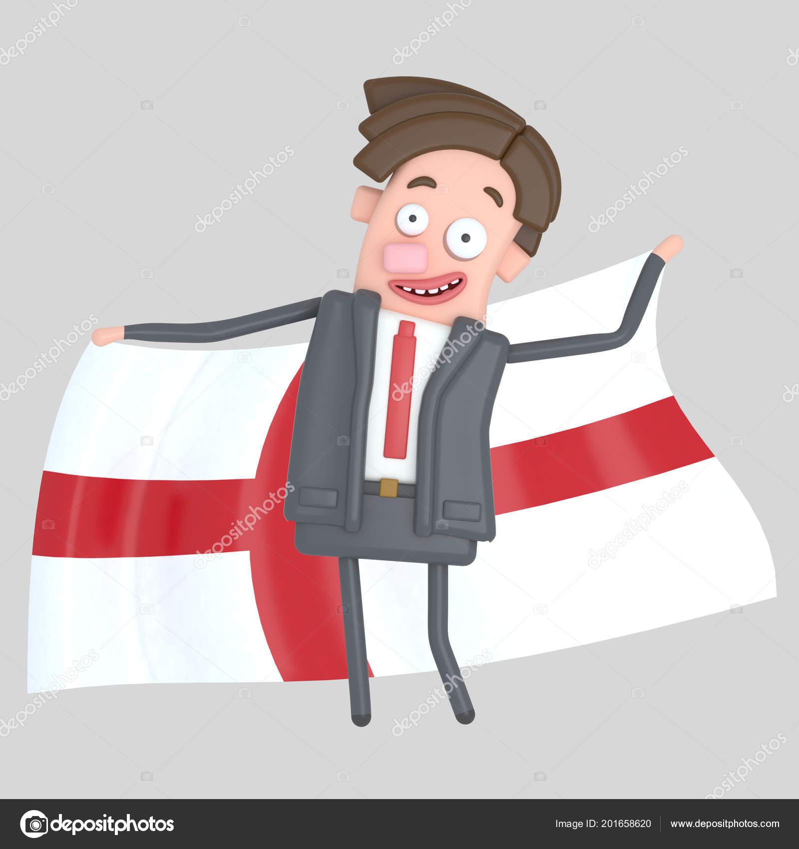 Man Holding Big Flag England Illustration Stockfoto Rasinmotion