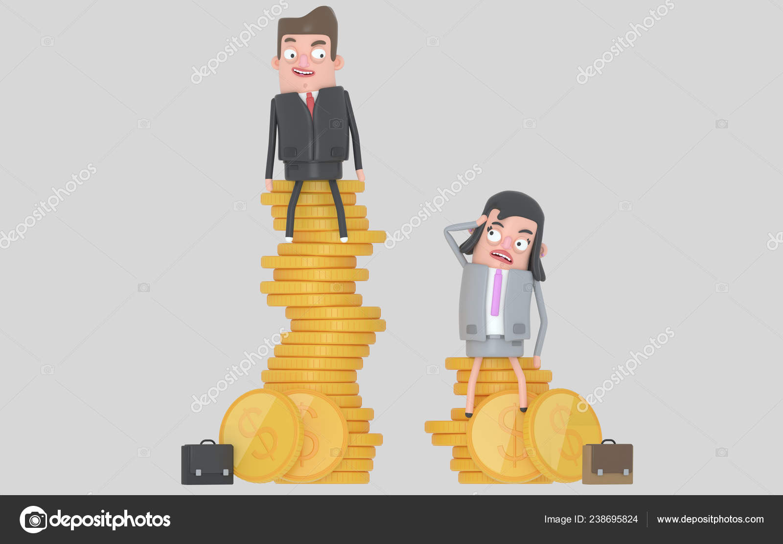 Gender Wage Difference Concept Man Woman Sitting Top Pile Coins