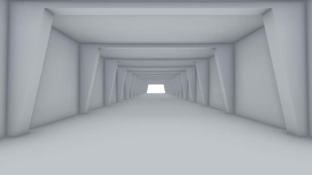 Fly through to abstract futuristic white color spacious interior. 3D Illustrator