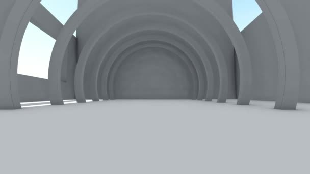 Fly through to futuristic white color spacious interior with abstract architect. 3D animation