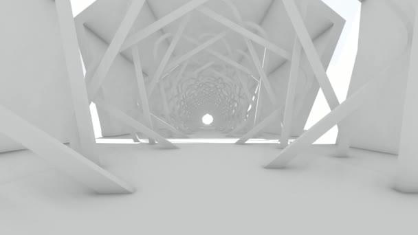 Walk through to abstract futuristic architect with spacious interior. 3D Illustrator