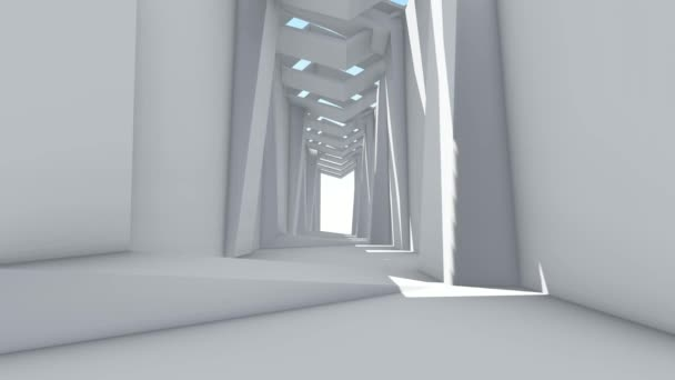 Fly through to futuristic white color spacious interior. 3D animation