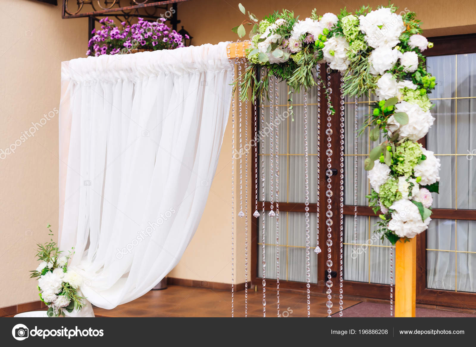 Wedding Reception Entrance Decoration Ideas Beautifully Decorated Visiting Ceremony Glass Doors Restaurant Wooden Arc Tulle Stock Photo C Ivankyryk 196886208