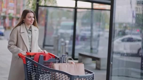 Happy funny girl rides on shopping cart