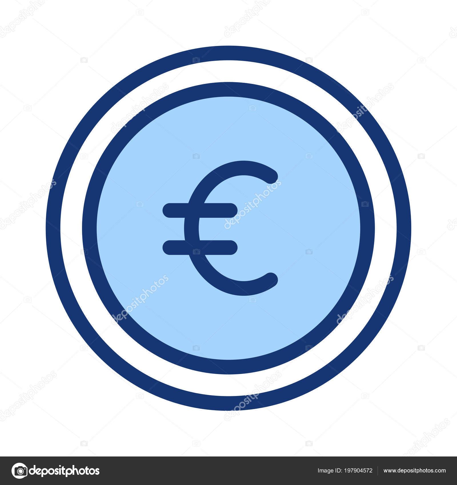 Blau Euro Münze Isoliert Auf Weißem Hintergrund Stockvektor