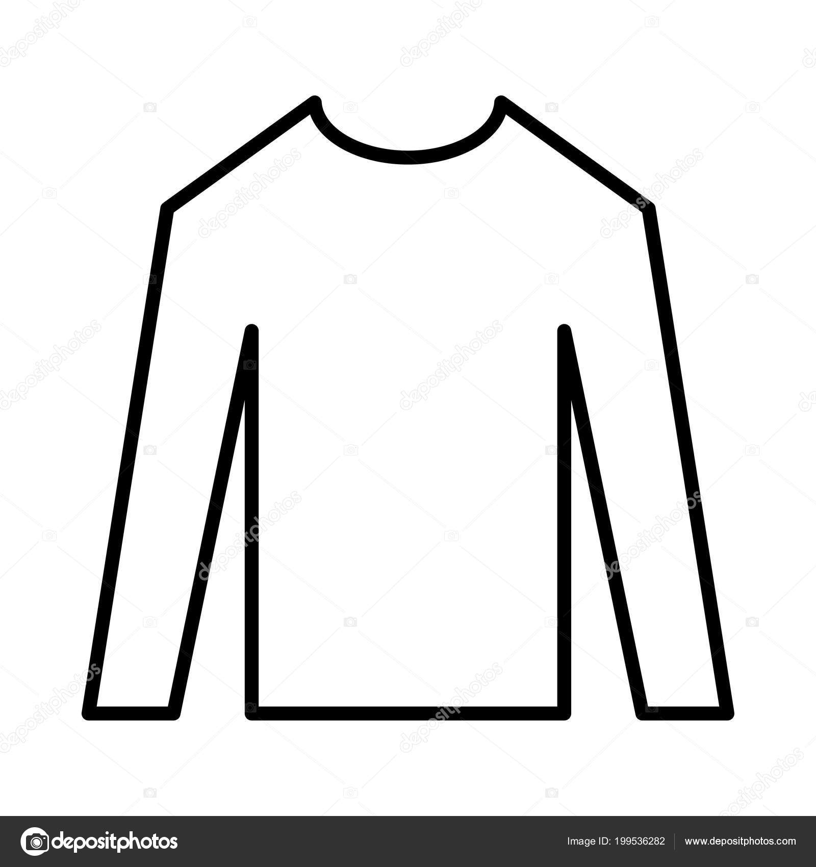 Outline Long Sleeve Shirt Isolated White Background Stock Vector
