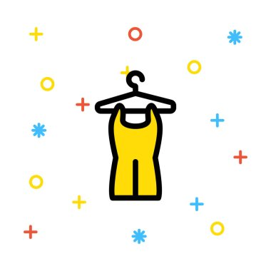 Yellow romper on hanger on white background with colourful symbols