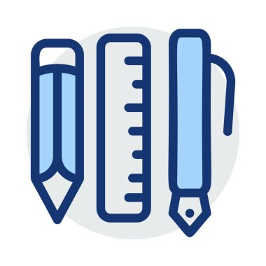 Pencil, ruler and pen in blue and grey colours isolated on white background