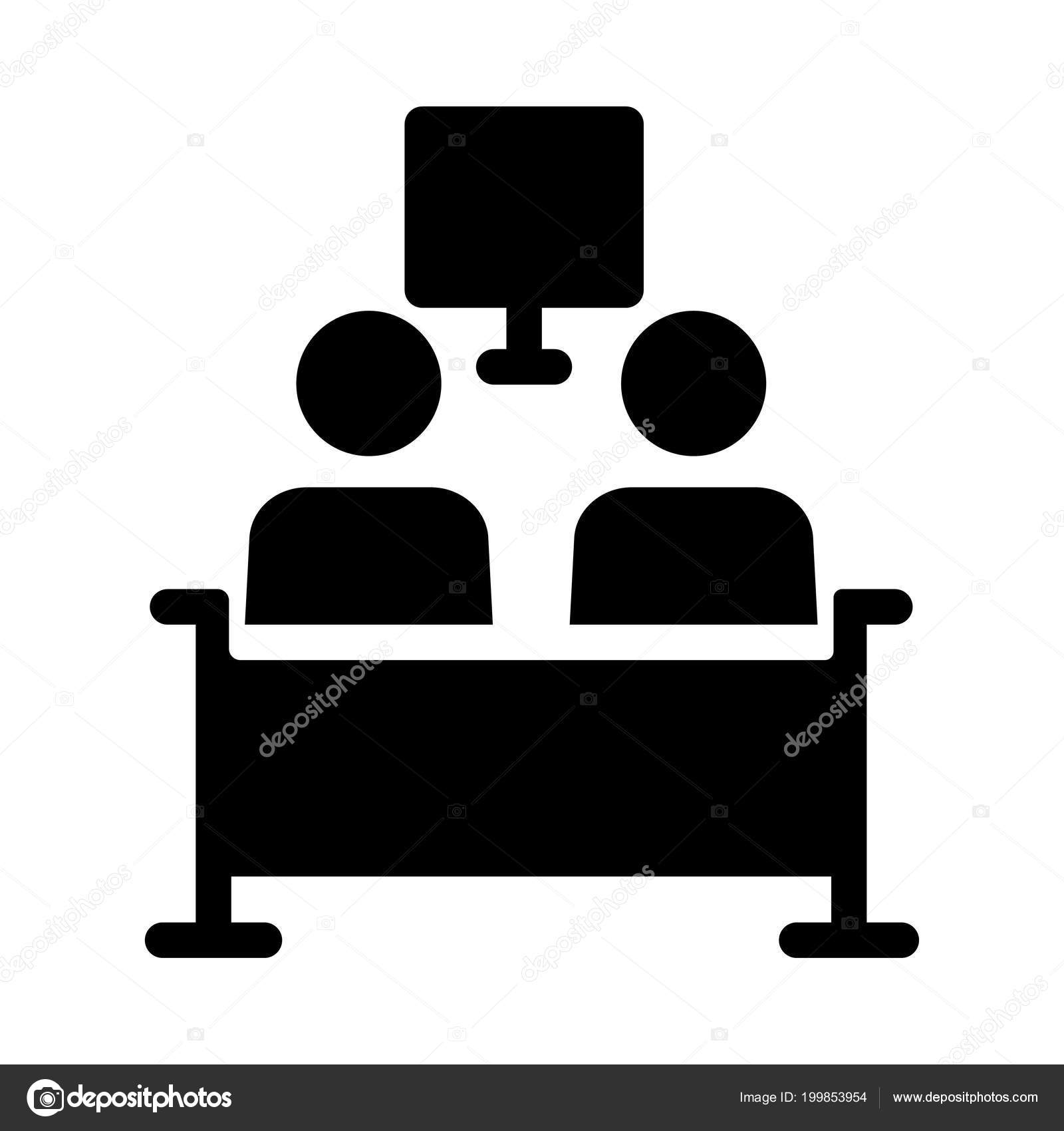 Black Outline People Watching Sitting Sofa Isolated White Background
