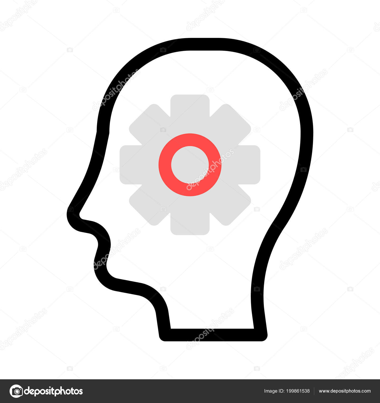 Human Head With Gear In Red, Grey And Black Colours