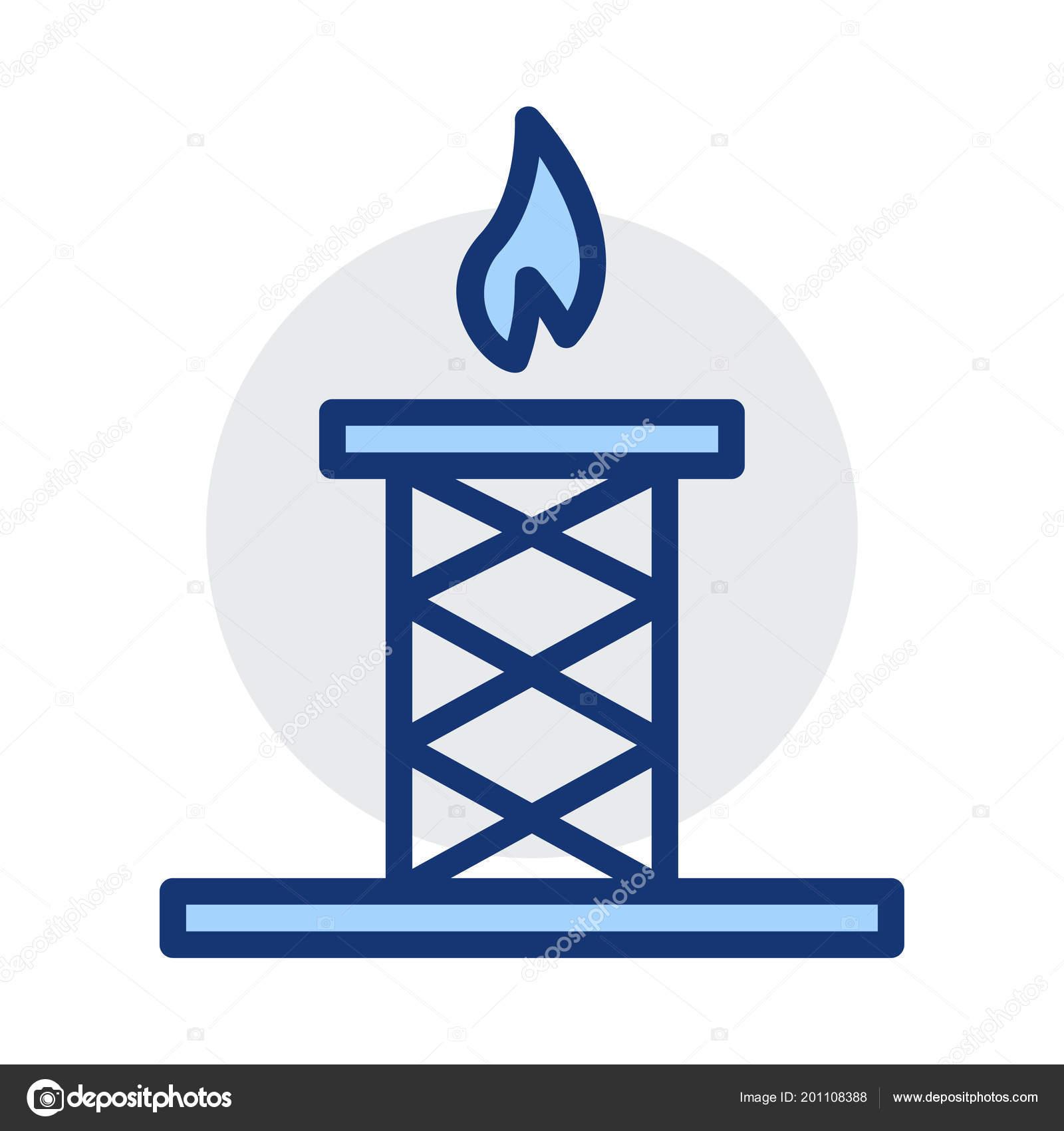 Stromleitung Mit Feuer Den Farben Blau Und Grau Isoliert Auf