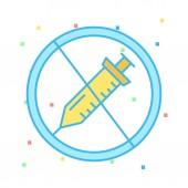 zakázaných injekční stříkačky plochý ikonou izolovaných na bílém pozadí, vektor, ilustrace