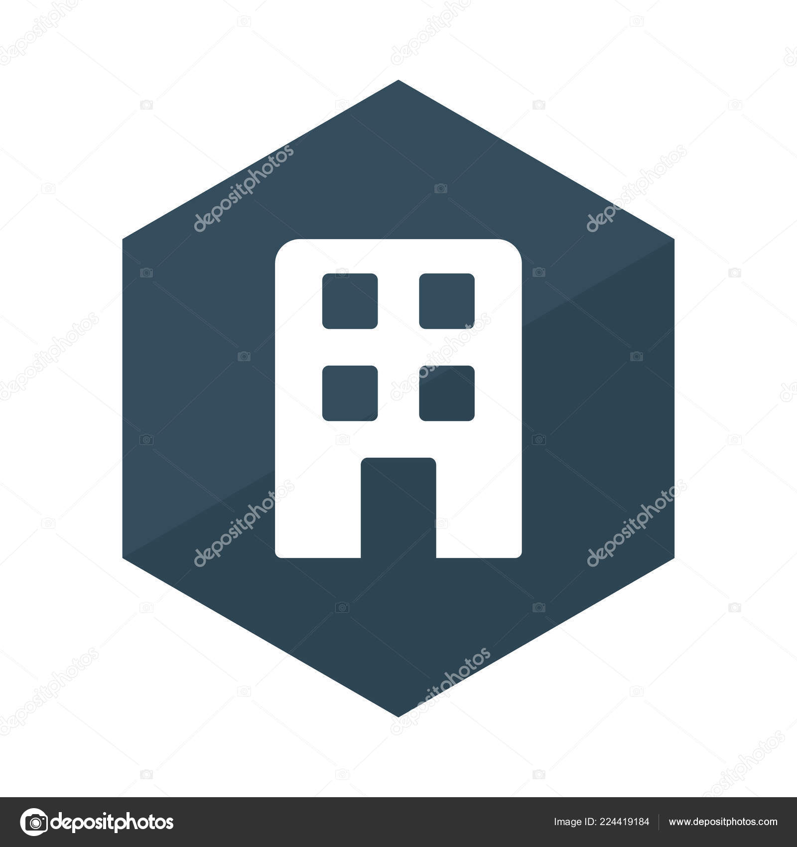 Office Building Flat Icon Isolated White Background Vector