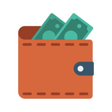 wallet with cash flat icon isolated on white background, vector, illustration