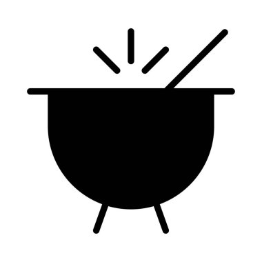hot cooking pot flat style icon, vector illustration
