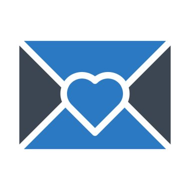 romantic envelope flat style icon, vector illustration, valentine day concept