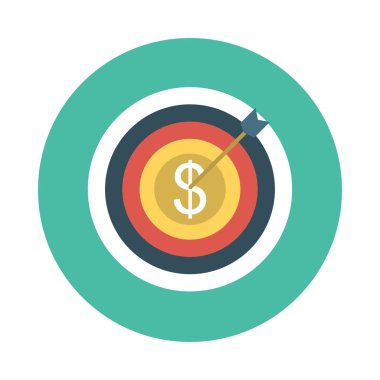 target with dollar symbol flat style icon, vector illustration
