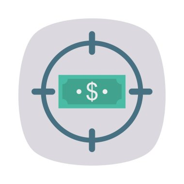 target with dollar flat style icon, vector illustration,  money concept